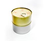 Boîte en fer blanc fermée avec la clé ouverte Image stock