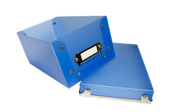 Boîte en plastique bleue Images stock