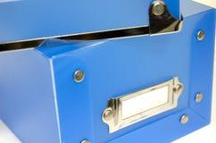 Boîte en plastique bleue Photo libre de droits