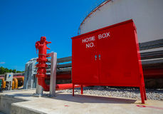 Boîte et bouche d'incendie de centre serveur pour la lutte anti-incendie Images stock