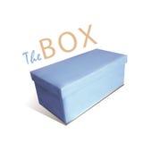 Boîte fermée bleue sur un fond blanc Photo stock