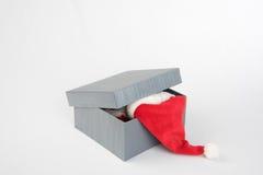 Boîte grise avec des présents Photos stock