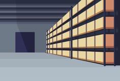 Boîte intérieure de colis d'entrepôt sur l'appartement horizontal de la livraison de support de cargaison de service de concept d