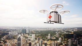 Boîte médicale de conception de photo d'air de bourdon de ciel à télécommande générique blanc de vol sous la surface urbaine Fond Photographie stock libre de droits