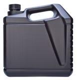 Boîte métallique avec de l'huile de machine d'isolement sur le fond blanc Photo libre de droits