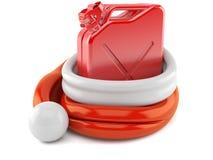 Boîte métallique d'essence à l'intérieur de chapeau de Santa illustration stock