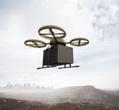 Boîte noire de couleur de photo de conception d'air de bourdon de vol de blanc à télécommande générique militaire de ciel sous la Photos libres de droits