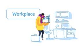 Boîte occasionnelle de participation d'homme d'affaires avec le bureau moderne de nouvelle du travail de recrutement de substance illustration de vecteur