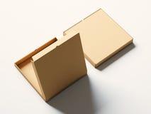 Boîte ouverte à pizza de papier vide de métier sur le fond blanc maquette horizontale 3d rendent Image libre de droits