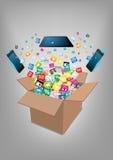 Boîte ouverte de vecteur avec le nuage de l'application colorée Images stock