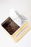 Boîte ouverte par Darjeeling à thé de vintage de Twinnings Photo stock