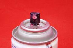 Boîte rose de peinture de jet photographie stock