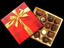 Boîte rouge à chocolat Photographie stock libre de droits