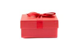 Boîte rouge avec un ruban Photo libre de droits