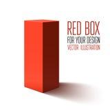 Boîte rouge d'isolement sur le fond blanc Images libres de droits