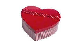 Boîte rouge de forme de coeur Images stock