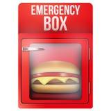 Boîte rouge de secours avec l'hamburger illustration de vecteur