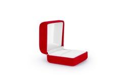 Boîte rouge de velours d'isolement sur le fond blanc Photos libres de droits