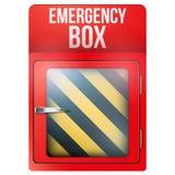 Boîte rouge vide avec en cas d'urgence illustration libre de droits