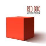 Boîte rouge vide d'isolement sur le fond blanc Photographie stock
