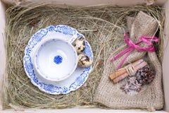 Boîte rustique de Pâques image libre de droits