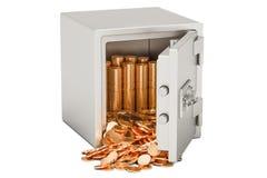 Boîte sûre avec le tas des pièces de monnaie d'or, rendu 3D Photographie stock