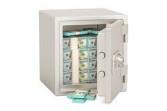Boîte sûre avec les paquets du dollar, 3D Photographie stock libre de droits