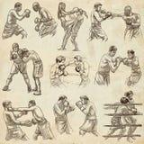Boîte Sport de boxe Collection de positions de boxe d'un certain sportm Image libre de droits