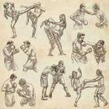 Boîte Sport de boxe Collection de positions de boxe d'un certain sportm Images libres de droits