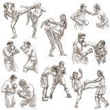 Boîte Sport de boxe Collection de positions de boxe d'un certain sportm Photos libres de droits