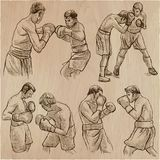 Boîte Sport de boxe Collection de vecteur de positions de boxe de certains Photo libre de droits