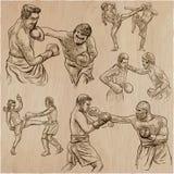 Boîte Sport de boxe Collection de vecteur de positions de boxe de certains Image stock