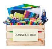 Boîte stationnaire de donations d'approvisionnements d'isolement sur le blanc Photos libres de droits