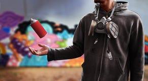 Boîte utilisée par artiste de peinture de jet de graffiti Photographie stock libre de droits
