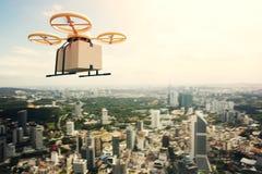 Boîte vide de métier de conception de photo d'air de bourdon de ciel à télécommande générique jaune de vol sous la surface urbain Image stock
