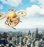 Boîte vide de métier de conception de photo d'air de bourdon de ciel à télécommande générique jaune de vol sous la surface urbain Image libre de droits