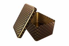 Boîte vide en métal avec le couvercle, d'isolement sur le fond blanc, rendu 3D Photos libres de droits