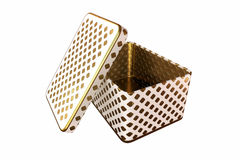Boîte vide en métal avec le couvercle, d'isolement sur le fond blanc, rendu 3D Images libres de droits