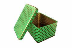 Boîte vide en métal avec le couvercle, d'isolement sur le fond blanc, rendu 3D Photographie stock