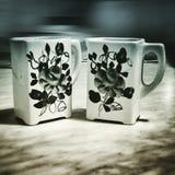 Boîtes à farine et à sel Regard artistique dans le style de duotone Photos libres de droits