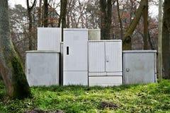 Boîtes électriques sur la route A3 Photos libres de droits