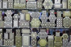 Boîtes Arabes en métal de souvenirs Photographie stock