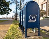 Boîtes aux lettres d'USPS Images libres de droits