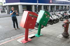 Boîtes aux lettres de penchement au secteur de Zhongshan, Taïpeh Photographie stock