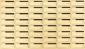 Boîtes aux lettres en bois pour la conception de fond Images libres de droits