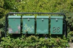 Boîtes aux lettres parmi des fleurs Image stock