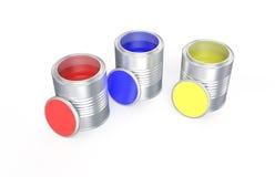 Boîtes avec la peinture rouge, bleue et jaune Image stock