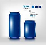 Boîtes bleues de boissons Photo stock
