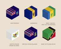 Boîtes 3d isométriques avec des drapeaux illustration stock