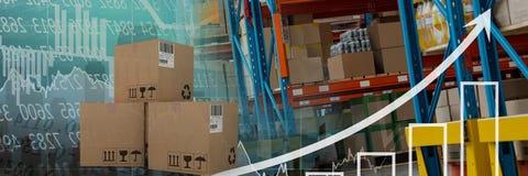 boîtes dans l'entrepôt, transition Photographie stock